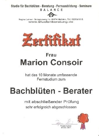 Zertifikat Bachblütenberaterin 001